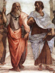 Platon (links) und Aristoteles mit dem Timaios bzw. der Nikomachischen Ethik in Händen, Detailansicht aus Raffaels Die Schule von Athen (1510–1511), Fresko in der Stanza della Segnatura (Vatikan)